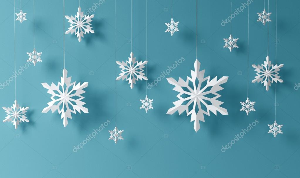 High definition snowflakes on blue background   #17371263
