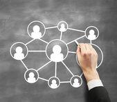Dawing koncept sociální síť — Stock fotografie