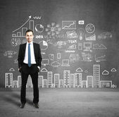 Man with business plan — Stock Photo
