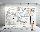 Affärskvinna och globala koncept — Stockfoto