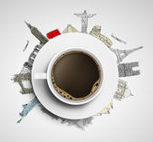 Coffee and colorized travel — Stock Photo