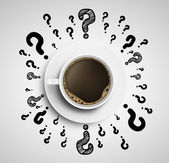 Cup with drawing question — Stock Photo