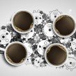 Four cups of coffee — Stock Photo