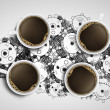 Four cups of coffee — Stock Photo #18676871