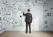 Man drawing business plan — Foto Stock