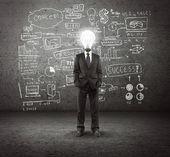 Lampe geleitet mann — Stockfoto