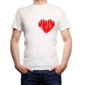 Guy in T-shirt with heard — Stock Photo