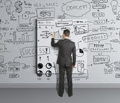 Drawing business strategy — Stock Photo