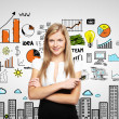 Woman and business strategy — Stock Photo