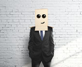 Box on head with smile — Stock Photo