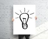 Plakát s nakreslenými lampa — Stock fotografie