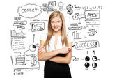 Businesswoman and business plan — Stock Photo