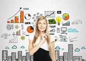Affärskvinna tänkande — Stockfoto