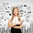 Woman and business strategy — Stockfoto