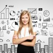 Woman and business strategy - Stock Photo