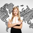 Woman and map — Stock Photo