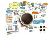 Cup and colorized business strategy — Stock Photo