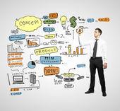 Businessman drawing plan — Stock Photo