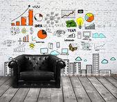Soffa i loft och ritning koncept — Stockfoto
