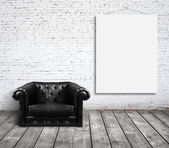Chair and poster on wall — Stock fotografie
