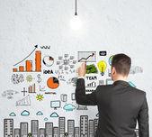 Strategia disegno uomo d'affari — Foto Stock