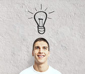 Man with lamp — Stock Photo