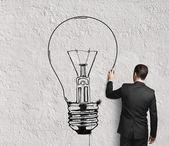 Adam çizim lamba — Stok fotoğraf