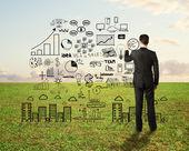 Człowiek rysunek strategia biznesowa — Zdjęcie stockowe