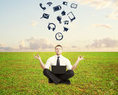 Man meditating — Stock Photo