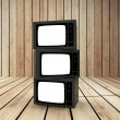 Three television — Stock Photo