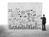 Hombre dibujo concepto de ciudad — Foto de Stock