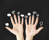Hands with bubbletalks — Stock Photo