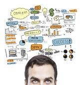 Człowiek i globalna koncepcja — Zdjęcie stockowe