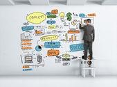 Businessman drawing graph — Stock Photo