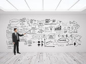 Man pointing at business concept — Stock Photo