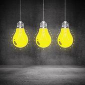Рисование светящиеся лампочки — Стоковое фото
