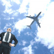 Man looking on airplane — Stock Photo #25978335