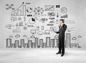 Business strategy on concrete wall — Stock Photo