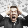 Businessman screaming — Stock Photo