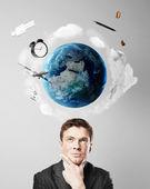 Man thinking on travel — Stock Photo