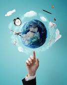 Wskazując na planecie — Zdjęcie stockowe