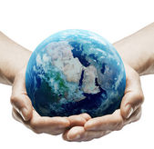 Hands holding earth — Stock Photo
