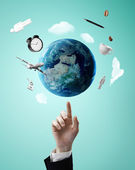 Pointing on earth — Stock Photo