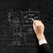 Drawing man on wall — Stock Photo
