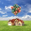 House with baloons — Stock Photo