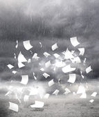 Rainy weather with paper — Stock Photo