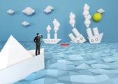 Paper battle ship — Stock Photo