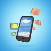 Phone with icon — Stock Photo