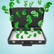 Briefcase with money — Stock Photo