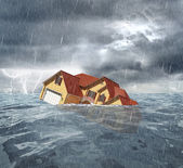 Sinking house in the sea — Stock Photo